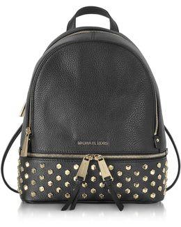Rhea Zip Black Leather Medium Backpack W/studs