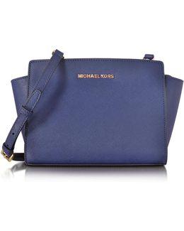 Selma Medium Admiral Blue Saffiano Leather Messenger Bag