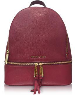 Rhea Zip Medium Mulberry Leather Backpack