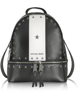 Rhea Zip Medium Black And White Leather Backpack W/stars