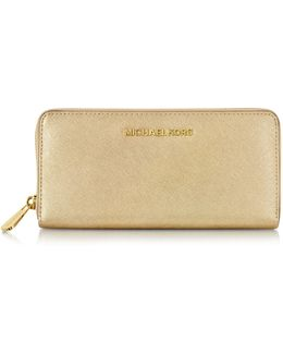 Jet Set Travel Pale Gold Saffiano Leather Continental Wallet