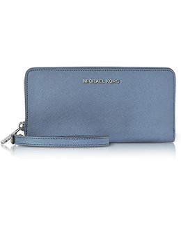 Jet Set Travel Large Denim Continental Wristlet Leather Wallet