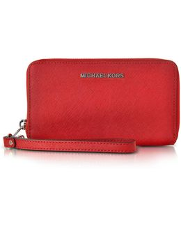 Jet Set Travel Large Flat Mf Bright Red Saffiano Leather Phone Case/wallet