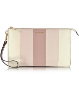 Large Daniela Striped Leather Zip Clutch