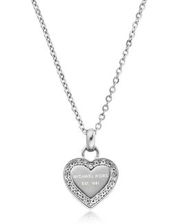Heritage Stainless Heart Necklace W/crystals