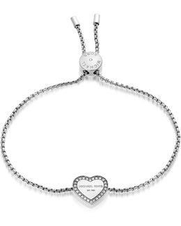 Heritage Stainless Heart Bracelet W/crystals