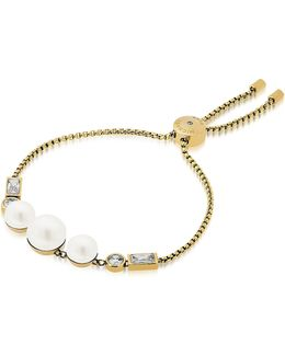 Brilliance Goldtone Bracelet W/crystals And White Pearls