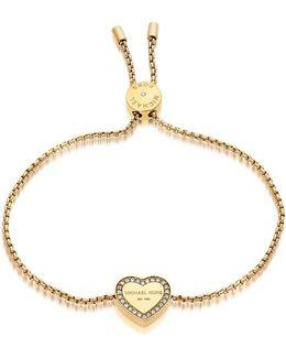 Heritage Goldtone Heart Bracelet W/crystals