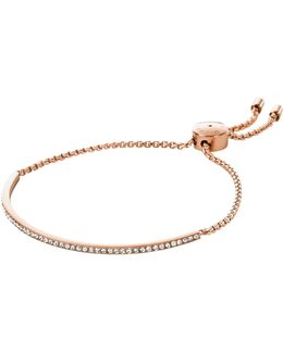 Brilliance Rose Gold Tone Metal Bracelet W/crystals