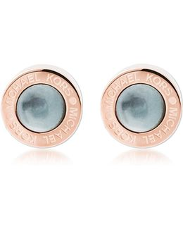 Logo Pvd Rose Goldtone Stainless Steel Stud Earrings