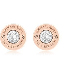 Iconic Stainless Steel Stud Earrings W/crystals