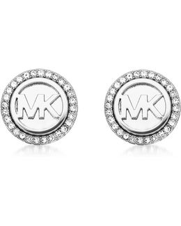 Logo Silvertone Stainless Steel Stud Earrings
