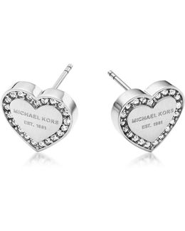 Heritage Stainless Heart Earrings W/crystals