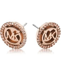 Heritage Pvd Rose Goldtone Stainless Earrings W/crystals
