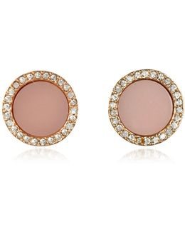 Heritage Rose Gold Stud Earrings W/crystals