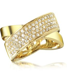Golden Brass And Crystal Pave Women's Ring