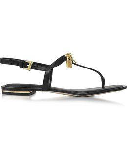 Black Leather Suki Lock Charm Thong Sandal
