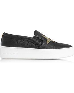 Black Tumbled Leather W/golden Glitter Stars Pia Slip On Sneakers