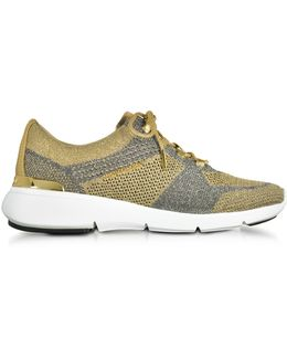 Skyler Pale Gold And Silver Metallic Knit Lace-up Trainers