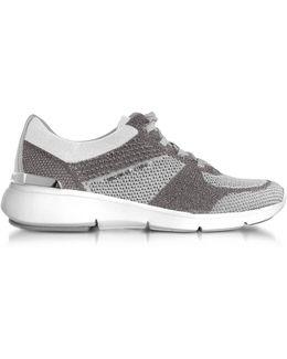 Women's Silver Fabric Sneakers
