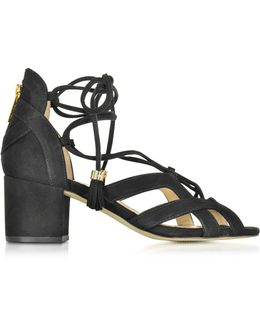 Mirabel Black Suede Mid Heel Sandal