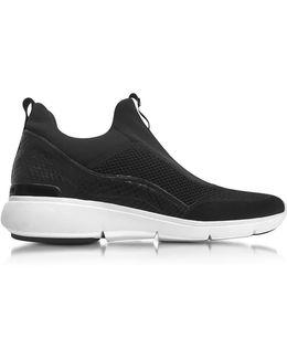 Women's Black Fabric Slip On Sneakers