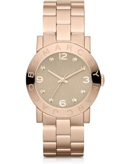 Amy 36.5 Mm Rose Gold Tone Stainless Steel Women's Watch