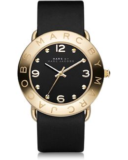 Amy 36mm Black Leather Strap Watch