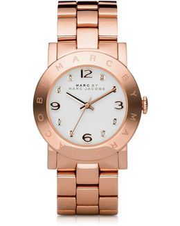 Amy 36.5mm Rose Stainless Steel Bracelet Watch