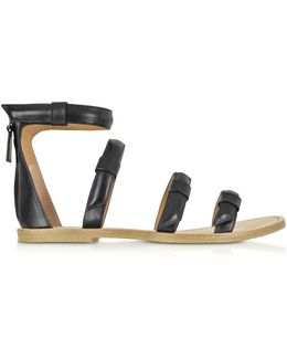 Seditionary Black Leather Flat Sandal