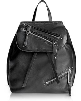 Black Leather Zip Pack Backpack