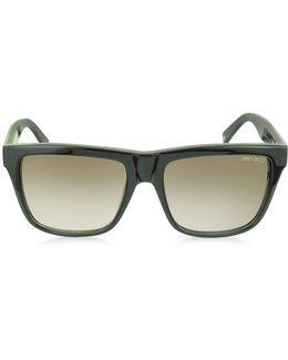 Alex/n/s 9h7js Black Leopard Print Square Frame Sunglasses