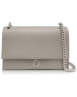 Open Beige Leather Medium Ring Shoulder Bag