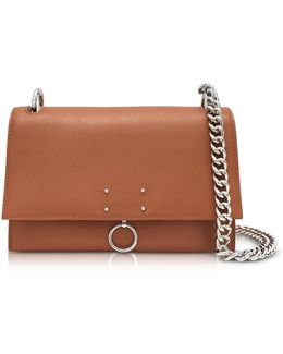 Open Brown Leather Small Ring Shoulder Bag