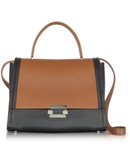 Color Block Leather Refold Top Handle Satchel Bag