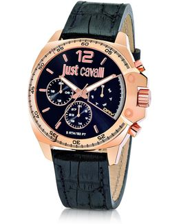 Just Escape Chronograph Rose Gold Steel W/black Croco Embossed Leather Men's Watch
