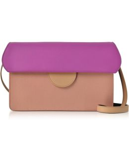 Efimia Peach And Hot Pink Leather Shoulder Bag