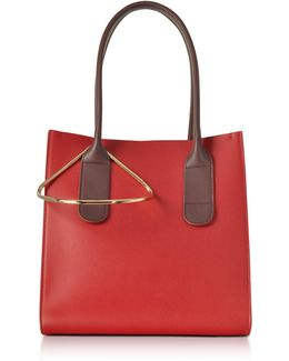 Red And Chestnut Leather Mini Weekend Bag