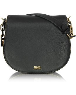 K/grainy Black Leather Satchel