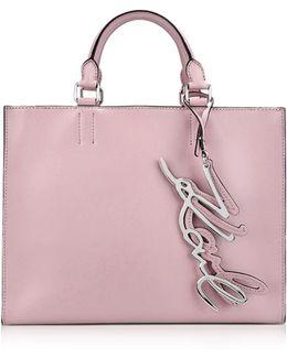 K/metal Signature Pink Ballet Leather Shopper Bag