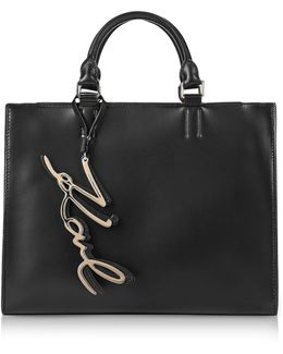 K/metal Signature Black Leather Shopper Bag