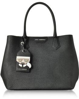 K/shopper Black Leather Tote Bag W/luggage Tag