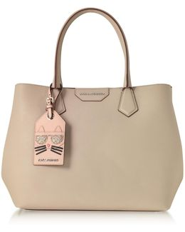 K/shopper Earth Leather Tote Bag W/luggage Tag