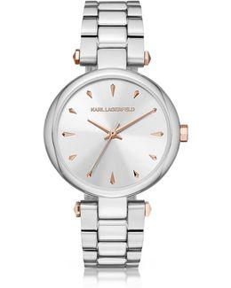 Aurelie Stainless Steel Women's Quartz Watch W/signature Dial