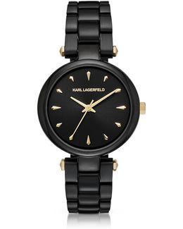 Aurelie Black Stainless Steel Women's Quartz Watch W/signature Dial