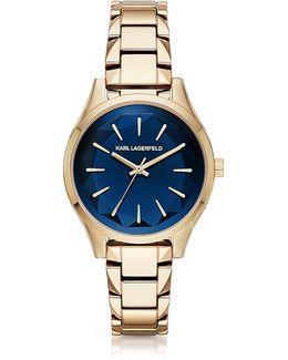 Belleville Gold-tone Pvd Stainless Steel Women's Quartz Watch W/deep Blue Dial