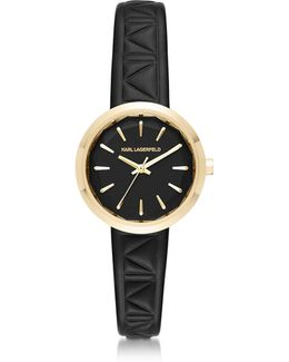 Belleville Gold-tone Pvd Stainless Steel Women's Quartz Watch W/black Leather Strap