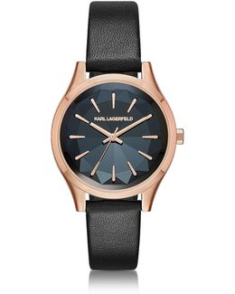 Belleville Rose Gold-tone Pvd Stainless Steel Women's Quartz Watch W/black Leather Strap