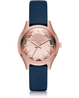 Belleville Rose Gold-tone Pvd Stainless Steel Women's Quartz Watch W/blue Leather Strap
