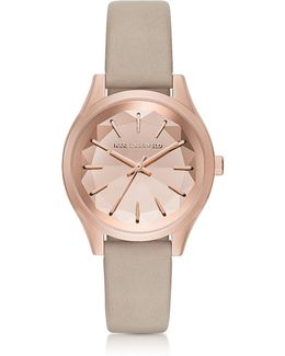 Belleville Rose Gold-tone Pvd Stainless Steel Women's Quartz Watch W/dove Leather Strap
